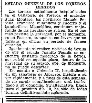 Información sobre toreros heridos